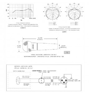 Location micro Shure SM58 - vue sur doc technique - Xl Sono